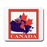 Canada Map with Maple Leaf Ba Mousepad