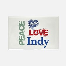 Peace Love Indy Rectangle Magnet