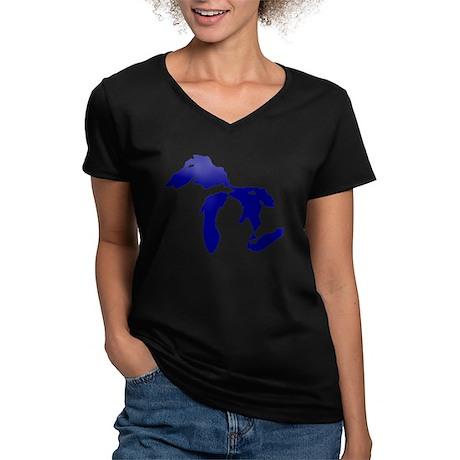 Great Lakes Women's V-Neck Dark T-Shirt