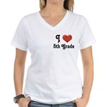 Big Red Heart 5th Grade Women's V-Neck T-Shirt