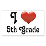 Big Red Heart 5th Grade Sticker (Rectangle)