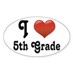 Big Red Heart 5th Grade Sticker (Oval)