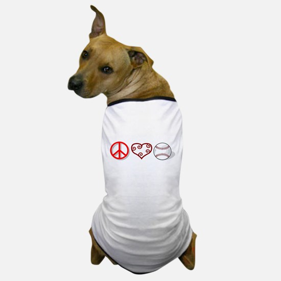 PEACE LOVE BASEBALL Dog T-Shirt