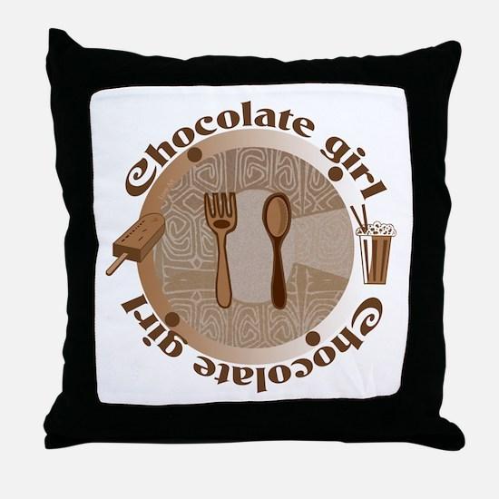 Chocolate girl Throw Pillow