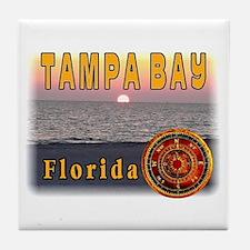 Tampa Bay Florida compass ros Tile Coaster