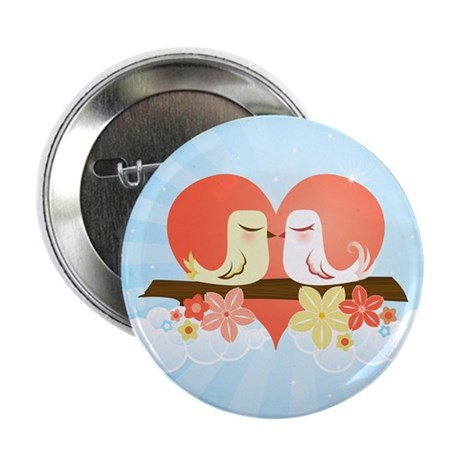 Love Birds Blue - Button