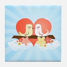 Love Birds Blue - Tile Coaster