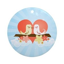 Love Birds Blue - Ornament (Round)