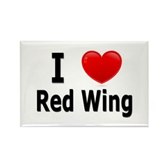 I Love Red Wing Rectangle Magnet