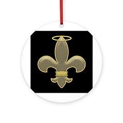 Lucky Fleur de lis Talisman Ornament (Round)