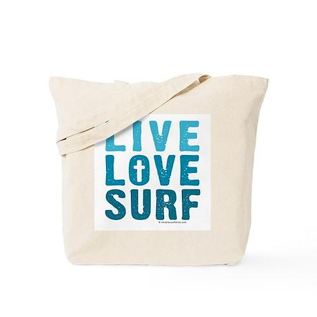 Live, Love God, Surf Tote Bag