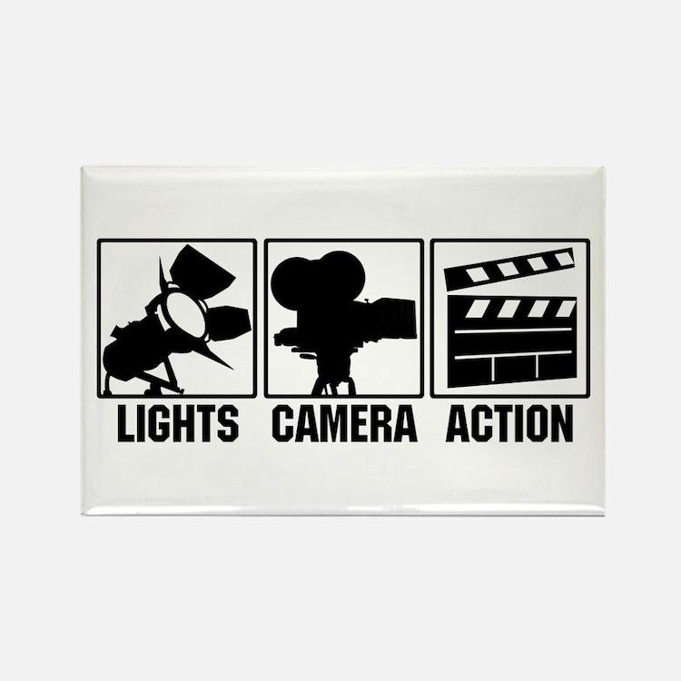 Lights, Camera, Action Rectangle Magnet