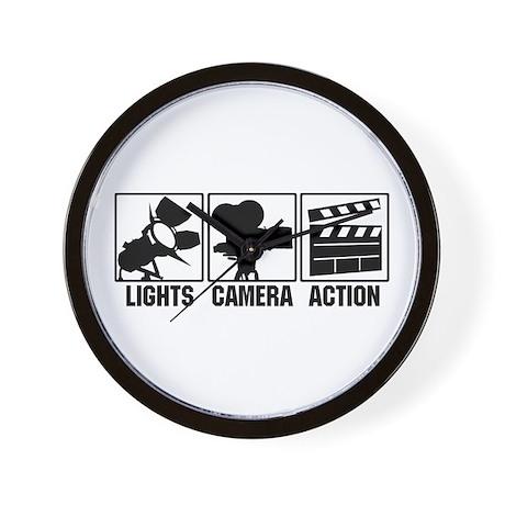 Lights, Camera, Action Wall Clock