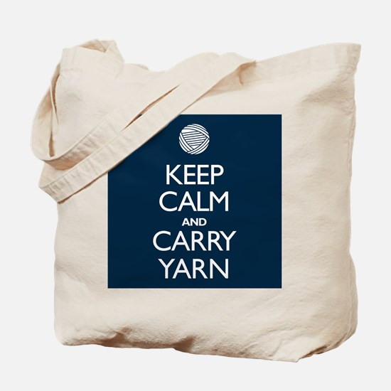 Navy Keep Calm and Carry Yarn Tote Bag