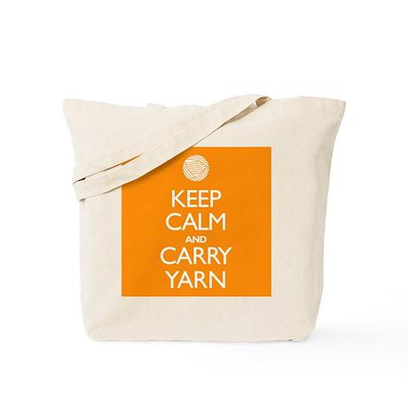 Orange Keep Calm and Carry Yarn Tote Bag