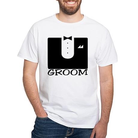 """Tuxedo """"GROOM"""" White T-Shirt"""