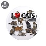 """3.5"""" Button (10 pack) """"I Love Cats"""""""