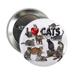 """2.25"""" Button (10 pack) """"I Love Cats&quot"""