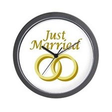 Just Married rings Wall Clock
