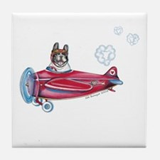 Valentine Airplane (Pied) Tile Coaster