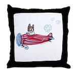 Valentine Airplane (Pied) Throw Pillow