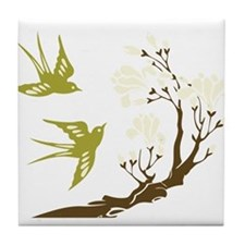 Cute Cherry blossoms trees Tile Coaster