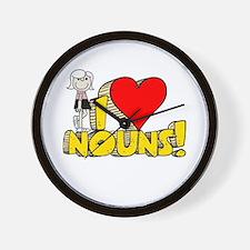 I Heart Nouns - Schoolhouse Rock! Wall Clock