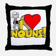 I Heart Nouns - Schoolhouse Rock! Throw Pillow