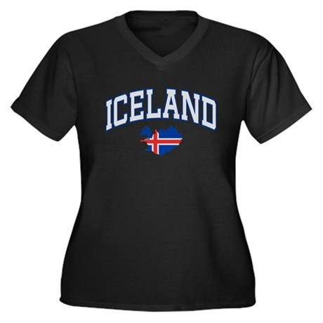 Iceland Map English Women's Plus Size V-Neck Dark