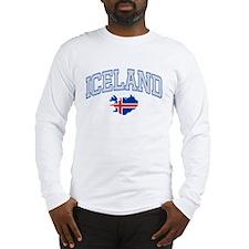 Iceland Map English Long Sleeve T-Shirt