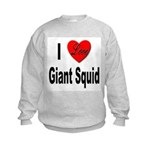 I Love Giant Squid (Front) Kids Sweatshirt