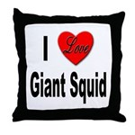 I Love Giant Squid Throw Pillow