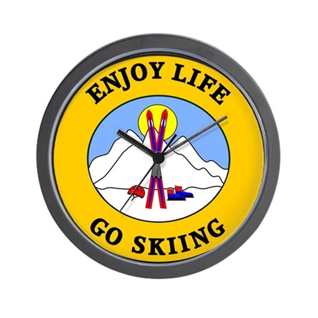 Enjoy Life Go Skiing Wall Clock
