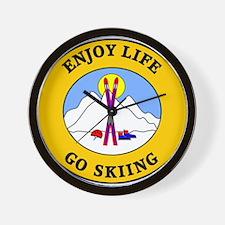 Enjoy Life Go Skiing Wall Clock