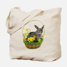 Easter Bunny Cat Daffodils Tote Bag