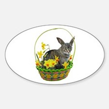 Easter Bunny Cat Daffodils Decal