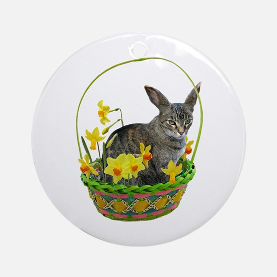 Easter Bunny Cat Daffodils Ornament (Round)