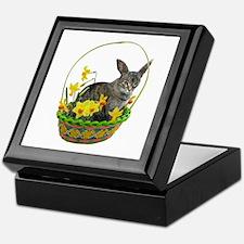 Easter Bunny Cat Daffodils Keepsake Box