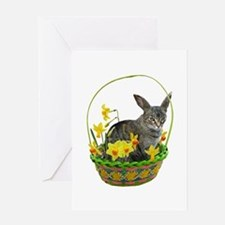 Easter Bunny Cat Daffodils Greeting Card