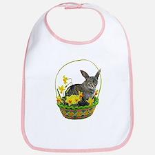Easter Bunny Cat Daffodils Bib
