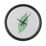 Green Leaf Large Wall Clock