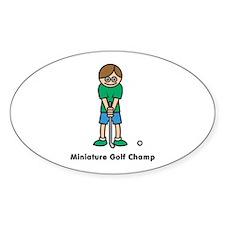Miniature Golf Champ Oval Decal