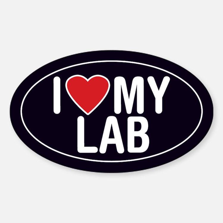 I Love My Lab Oval Sticker/Decal