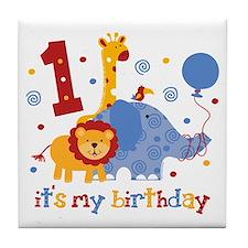 Safari 1st Birthday Tile Coaster