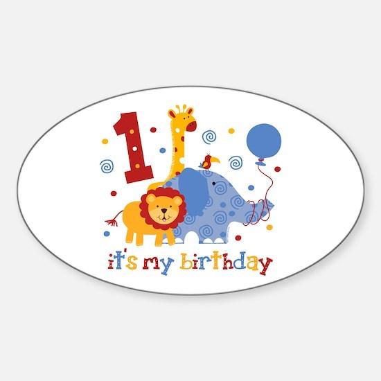 Safari 1st Birthday Sticker (Oval)