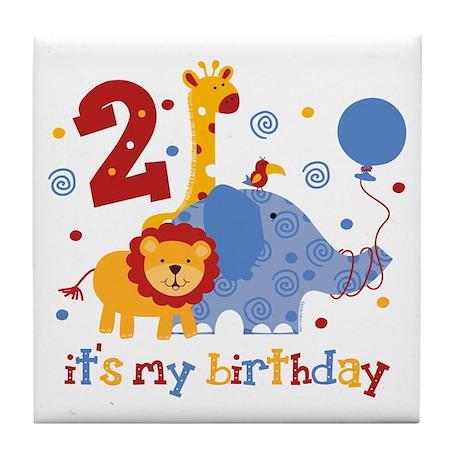 Safari 2nd Birthday Tile Coaster