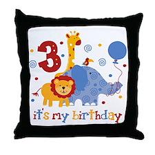 Safari 3rd Birthday Throw Pillow