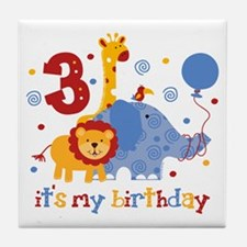 Safari 3rd Birthday Tile Coaster