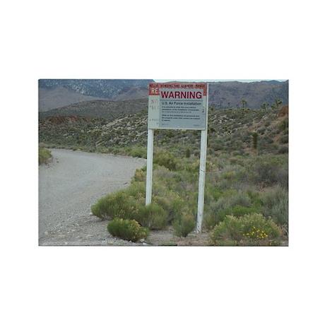 Warning Sign on Groom Lake Ro Rectangle Magnet (10