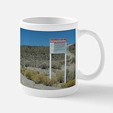 Warning Sign on Groom Lake Ro Mug